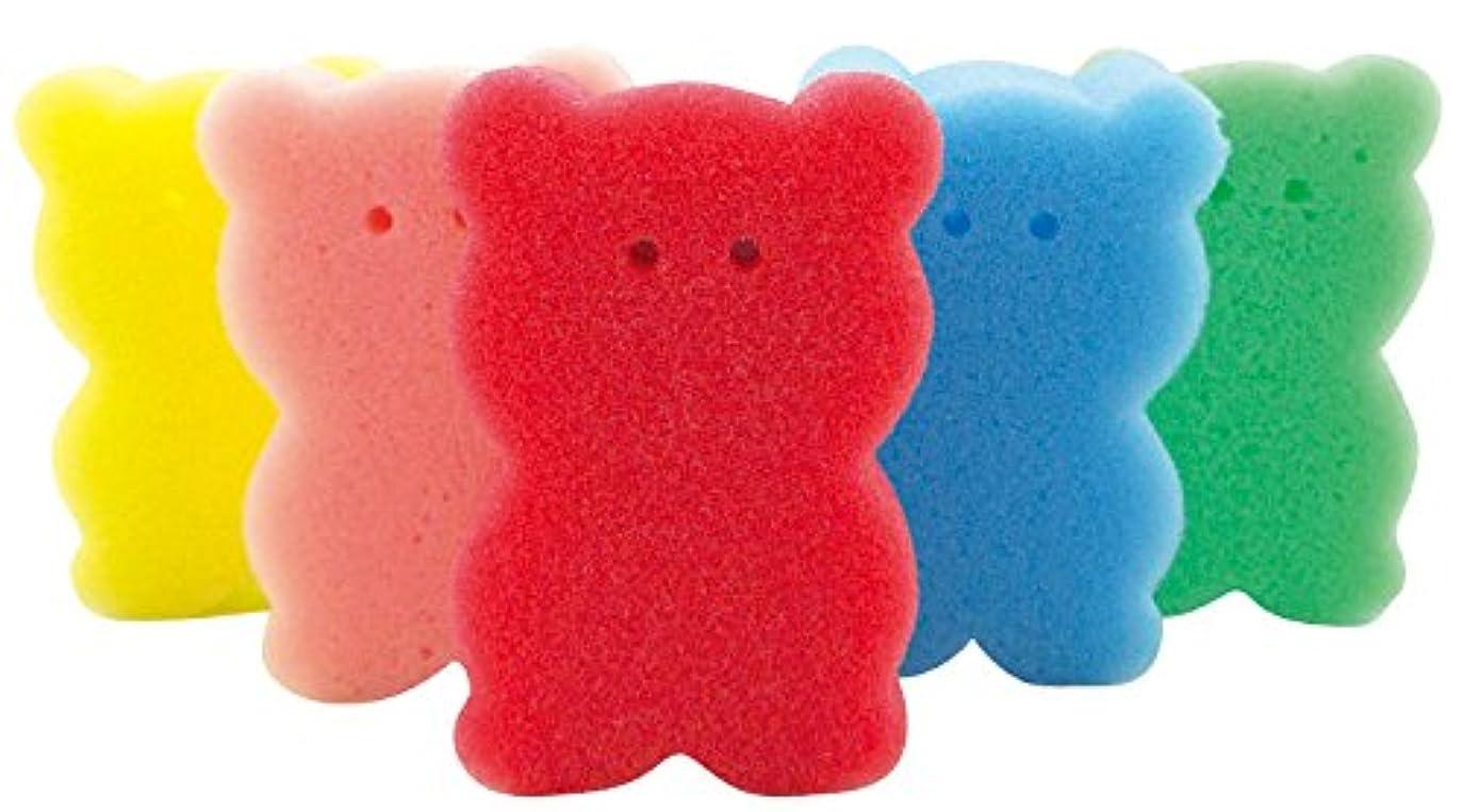 ファセット地域学校の先生【色指定不可品】クマさん スポンジ 5ヶセット バススポンジ ボディスポンジ キッチンスポンジ