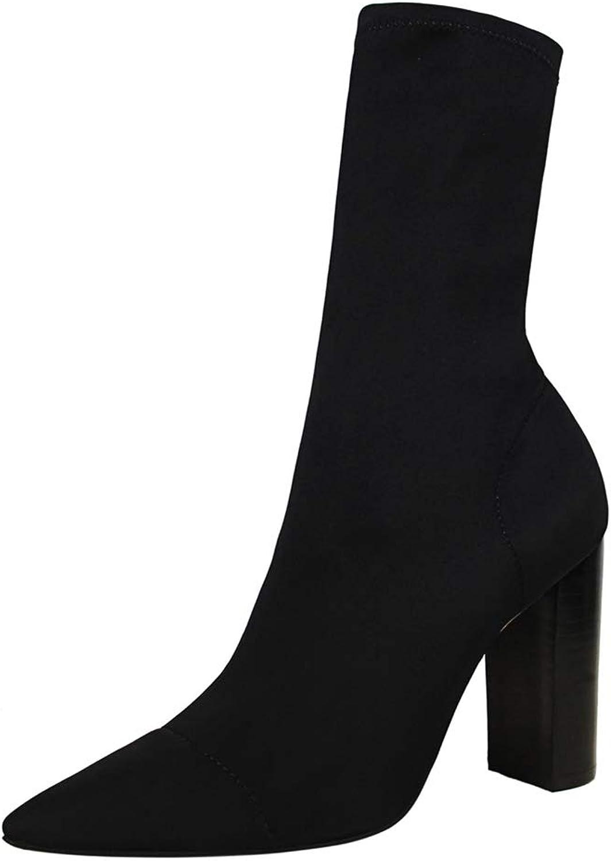 T -JULY Woherrar Woherrar Woherrar Winter stövlar Mid Calf stövlar Mode Sexy Stretch Fabric Thick Heel hög klack s Pointed Toe Sock skor  försäljningsförsäljning