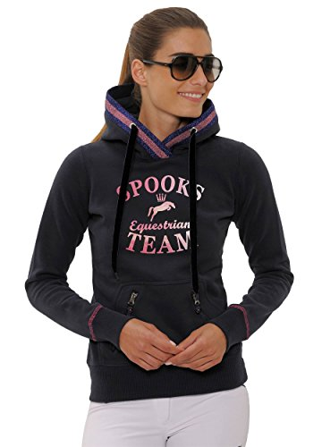 SPOOKS Damen Hoody, Kaputzenpulli, Hoodie, Pullover - sportlich, Bedruckt, Langarm, Pulli, Kapuzenpollover - Maril Hoody, Navy L
