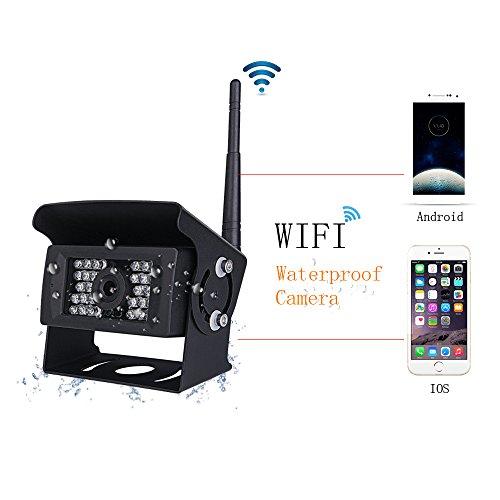 podofo Digital WiFi Rückfahrkamera wasserdichte Nachtsicht mit Backup-Linie Monitor Kit kompatibel mit iPhone/iPad und Android für Trailer, RV, Trucks (Guide Line Optional)