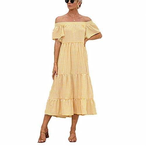 LYAZFC Vestido Casual Multicolor a Cuadros Sexy de Primavera y Verano para Mujer