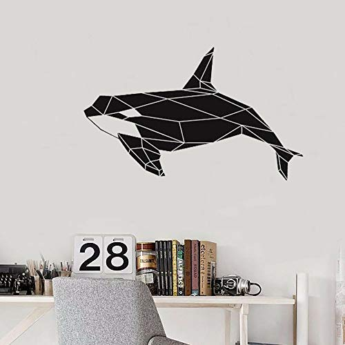 Tianpengyuanshuai Geometric Killer Whale Orca Wandtattoo Ocean Vinyl Sticker Klassenzimmer Kinderzimmer Home Decoration 57X35cm