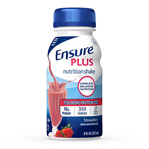 Ensure Plus Nutrition Shake with 13 grams of high-quality protein, Meal Replacement Shakes, Strawberry, 8 Fl Oz (Pack of 24)