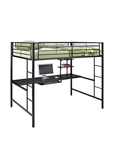 WE Furniture AZDOZBL Modern Metal Pipe Full Double Size Loft Workstation Kids Bed Bedroom Storage Guard Rail Ladder, Black