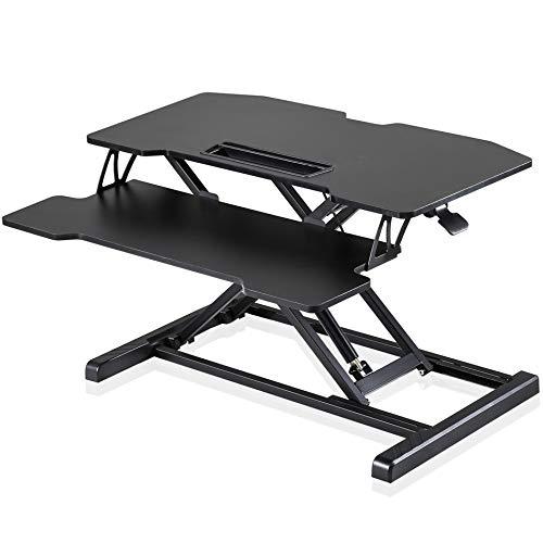 Fenge Sitz Steh Computertisch Höhenverstellbar Stehpult mit Tastaturablage L91.5*W40*H(11-50.4) cm Geeignet für Zwei Monitore SD360001WB