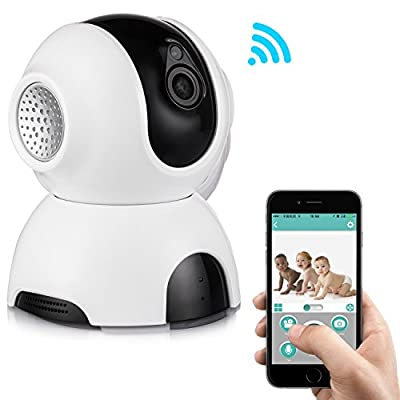 Rukerway Wifi Security Camera 1080P with Temperature Sensor,Wireless IP Camera 4X Zoom, Baby Monitor with Pan/Tilt Two-Way Audio, Night Vision, Motion Detection Alert for Home, Pet and Property