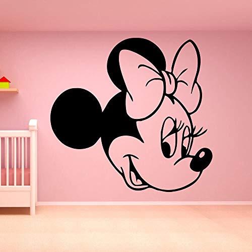 Pegatinas de pared de cabeza de ratón creativas para habitación de niños pegatinas de arte de pared de vinilo de dibujos animados lindo decoración de habitación de guardería de niña calcomanías