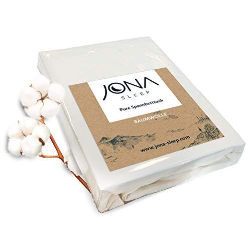JONA SLEEP Spann-Bettlaken (180-200 x 200 cm) Weiß, Spannbetttuch aus Baumwolle - Öko Tex - Matratzenbetttuch strapazierfähig (Weiß, 180-200 x 200 cm)