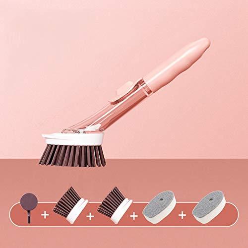 Eastor 4in1 Spülbürste mit Spülmittelspender, Abwaschbürste 2 Bürstenköpfe mit Integriertem Schaber mit 2 Spülschwamm, Reinigungsbürste Silikon Druckknopf für Zuverlässige Abdichtung (Rosa)
