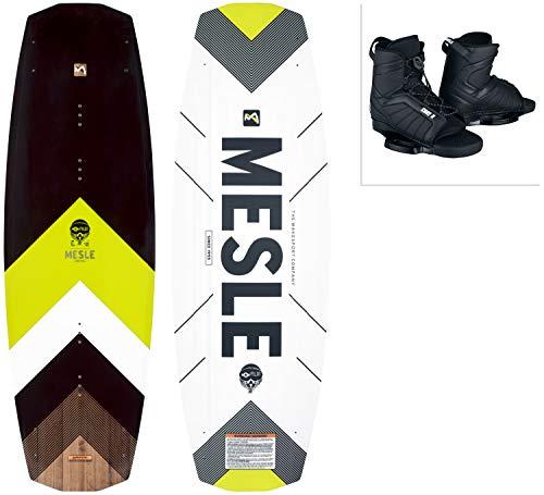 MESLE Wakeboard Set Pilot mit Core Bindung, Progressive Rocker, Slider Base, für Fortgeschrittene und Profis, für Cable und Boot, Längen 134 cm, 138 cm, 142cm, Größe:S-M, Länge:134 cm