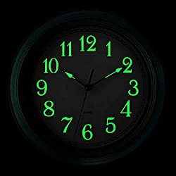 JoFomp Glow in The Dark Clock, 12 Inch Vintage Retro Green Silent Non-Ticking Wall Clock, LuminousNumbers and Hands, Battery Operated Decoration Wall Clock for Home, Kitchen, Living Room (Green)