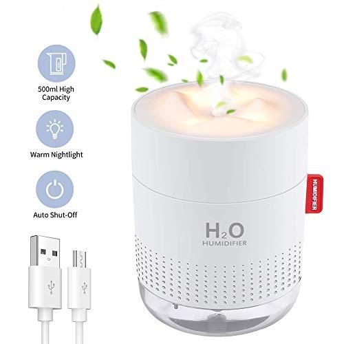 SmartDevil Humidificador 500ml, humidificadores ultrasónicos de Aire con alimentación USB, Apagado automático para el el hogar, Dormitorio, la Oficina, el Yoga, Aceite Esencial Prohibido - 2 Filtros