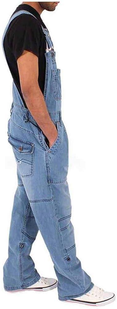 Huateng Mens Denim Latzhose Latzhose Arbeit Latzhose Jeans Jumpsuits