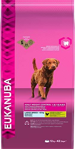 Eukanuba, Cibo Secco per Controllo del Peso, Alimento Completo per Cani Adulti di Taglia Grande, 1-6 Anni, Crocchette con Pollo, 12 Kg
