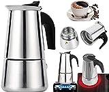 PENGQIMM Cafetera expreso de acero inoxidable, cafetera espresso de 300 ml, para casa u oficina