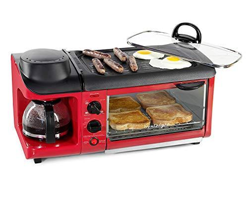Nostalgia BSET300RETRORED Retro 3-in-1 Family Size Breakfast Station (Red)