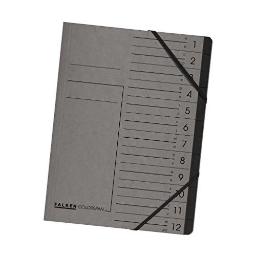Original Falken Premium Ordnungsmappe. Made in Germany. Aus extra starkem Colorspan-Karton DIN A4 12 Fächer und 2 Gummizüge mit Organisationsdruck grau Ringmappe Register-Mappe
