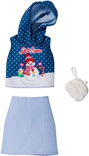 Barbie-446GGG48 Falda con Capucha y Bolso de Mano, Diseño Navideño, Multicolor (Mattel 446GGG48)