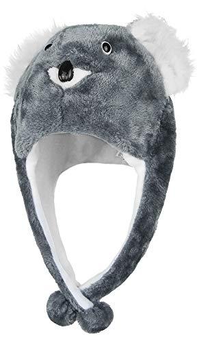 GEMVIE Sombrero de Animal Adulto Niño Unisex Peluche con Bufanda Disfraz de Fiesta Carnaval Koala Gris