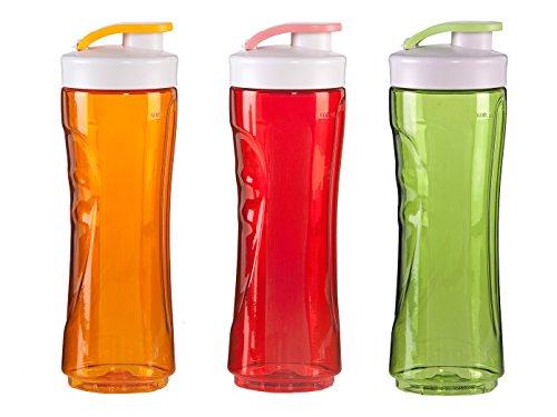 DOMO 3er-Set Ersatzflaschen für Smoothie-Maker, 600ml, rot-orange-grün; DO434BL DO435BL DO436BL