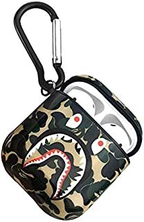 Airpod Case Compatible Full Protective Luxury Soft Rubber Premium Quality Silicone TPU 2109 Fashion Key Chain Headphones KAWS Bearbrick Inspired (Green Camo Shk)