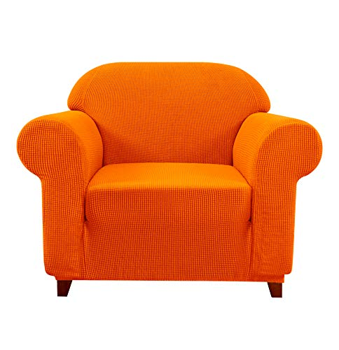 Subrtex Sofa Cover 1-Piece Stretch Couch Slipcover Soft Couch Cover Loveseat Slipcover Armchair Cover Furniture Protector Machine Washable(Small, Orange) -  SBTSF0058