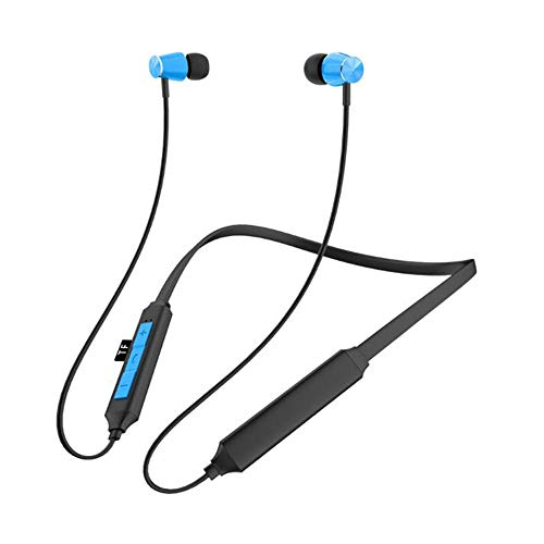 CAPOOK Nuevos Deportes de Radio montada en el Cuello Auricular Tarjeta de estereofonía Auricular Bluetooth Auriculares (Color : Blue)