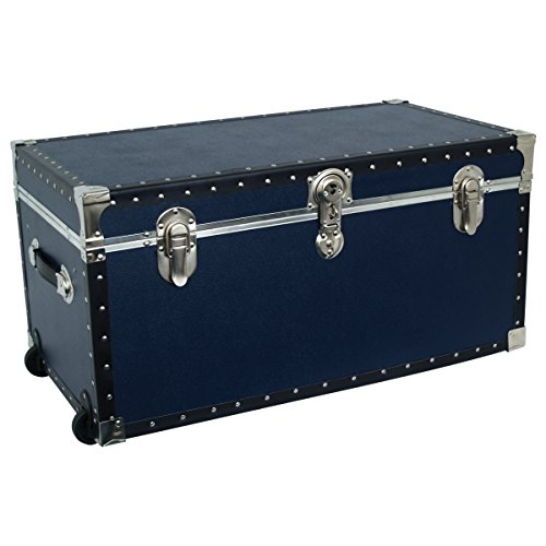 Seward Trunk Base Oversized Footlocker Trunk with Paper Lining, Interior Tray and Wheels, Navy Blue, 31-inch (SWD5531-61)