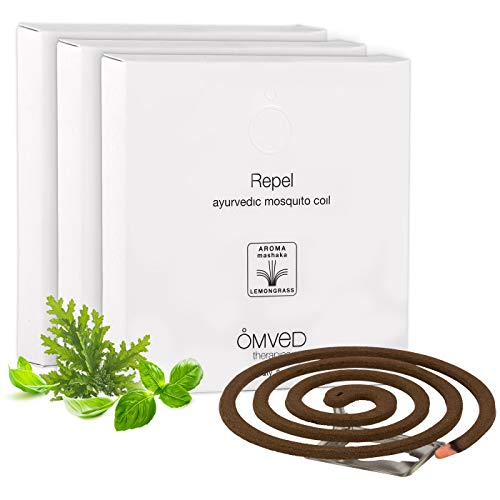 Omved Repel Ayurvedic Mosquito Coil -100% Natural, Chemical Free, Non-Toxic -24 Coils, Pack of 3