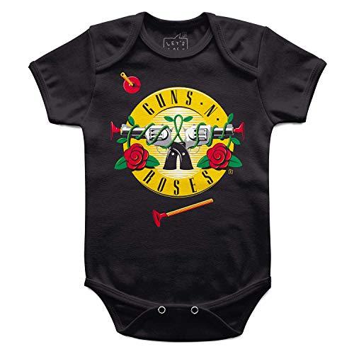 Body Bebê Guns 'n' Roses Arminha, Let's Rock Baby, Preto, M