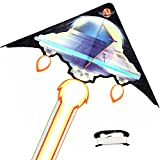 RACPNEL Huge UFO Kite for Kids and Adults, Easy to Fly Kite for Boys and Girls, with Long Tail & 330ft Kite Line, Outdoor Toys and Games for Kids, Beach Kite for Kids Outdoor Activities & Family Fun
