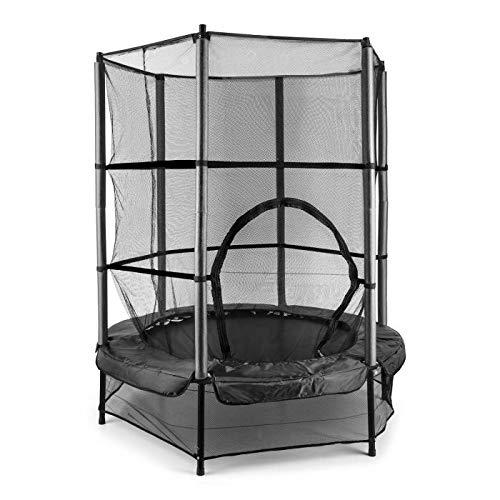 Klarfit Rocketkid cama elástica infantil (140 cm de diámetro, red de seguridad, apta para exterior o interior, peso máximo 50 kg, varillas acolchadas, gran estabilidad) - negro