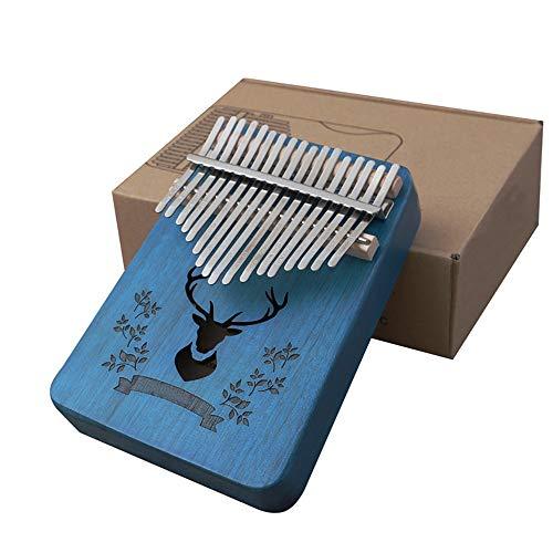 LHR 17-Key Thumb Piano, Kalymba Tragbare Mbira Tasche Daumen Klavier Holz Saphir Blau Kitz Druck Für Kinder Erwachsene Anfänger Home Entertainment