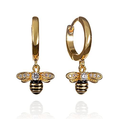 namana Pendientes de aro con diseño de abejorro para mujeres y niñas, plata 925 para mujer con abalorios de abejorro, Plata de ley,