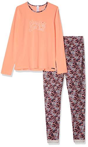 Skiny Mädchen Cosy Night Sleep Girls Pyjama lang Zweiteiliger Schlafanzug, Mehrfarbig (Peach Amber 2179), (Herstellergröße: 140)