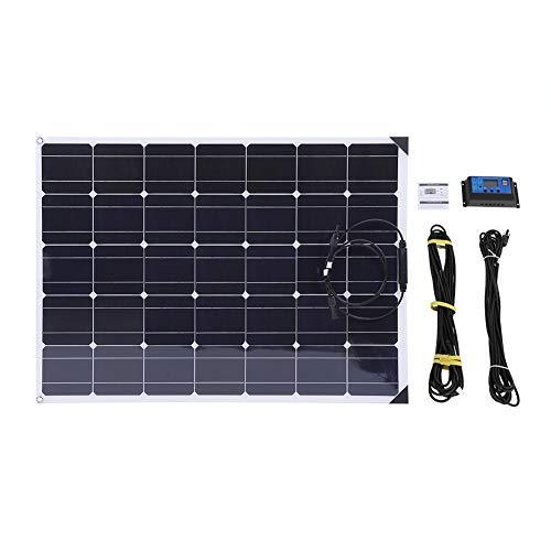 Pannello Solare Flessibile 12V Pannello Solare monocristallino Pannello Solare Impermeabile Pieghevole per Camper, roulotte, Camper, Barche, tetti