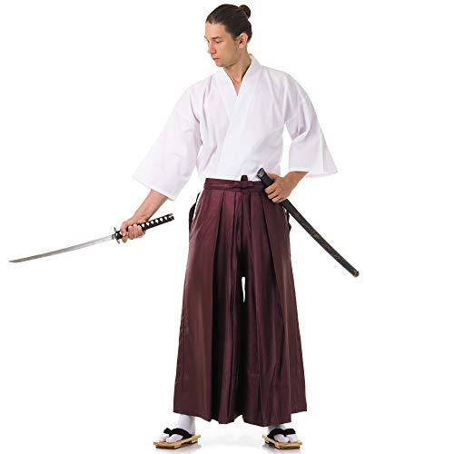 Princess of Asia Japan Samurai Iaido Outfit Set Kendo Gi Kimono & Hakama Hose (Weinrot & Weiß)