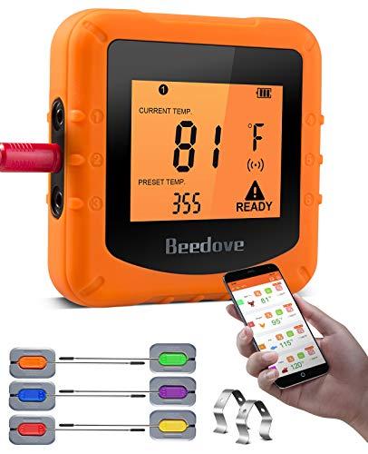 Beedove Grillthermometer Bluetooth, 6 Sonden Digital Fleischthermometer, 90m Kabellos APP Überwachung Magnetische Rückwand Bratenthermometer für BBQ, Grillofen, Küche, Steak Unterstützt IOS, Android