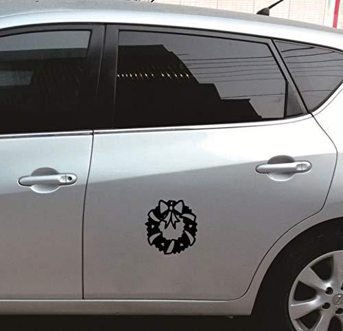 Auto Stickers 14X14Cm Kerstkrans linten auto stickers Sticker voor auto Body Window deur achter voorruit