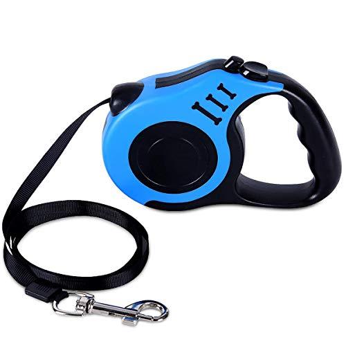 LSLEE Einziehbare Hundeleine, 5M, Einziehbare Hundeleine für XS/S/M Hunde oder Katzen bis zu 15 kg, kein Verheddern Einhandbremse, Pause, Schloss