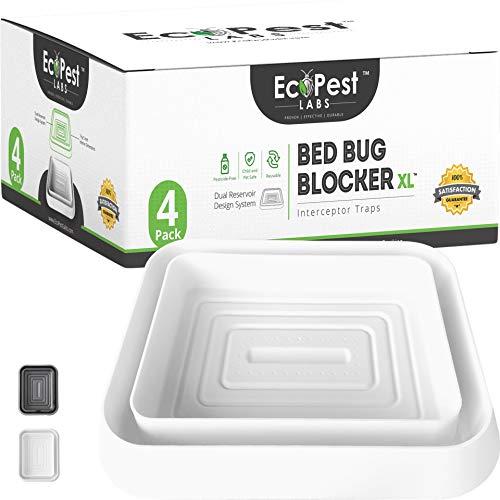 Bettwanzen Detektor – 4er Pack   Bettwanzenfalle Bed Bug Blocker (XL)   Bettwanzen Test (Weiß)   Extra große Insektenfalle, Wanzen Monitor und Detektor für Bettwanzen