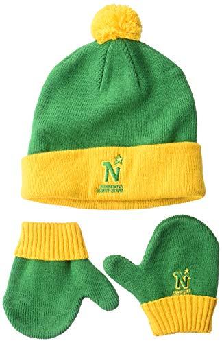 OTS NHL Minnesota North Stars Toddler Pow Pow Knit Cap & Mittens Set, Team Color, Toddler