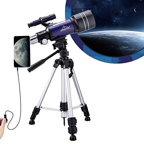 Telescopio para niños Principiantes astronomía, 150 x Alcance de Viaje portátil 300/70 HD Refractor de visión Grande con Obturador de Cable de cámara, Adaptador de Smartphone y Mochila