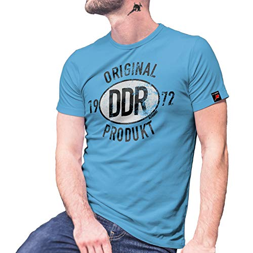 Original DDR Produkt 1972 Broiler Ketwurst NVA Armee Plakette T Shirt #27453, Größe:XXL, Farbe:Hellblau