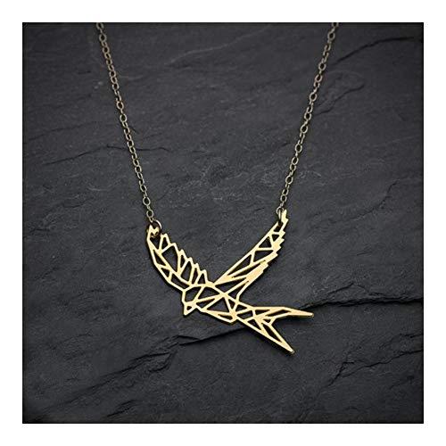 LUOSI Collar Swallow Collar geométrico Pájaro de Origami y Accesorios PendantsParty Collares (Metal Color : Gold Color)