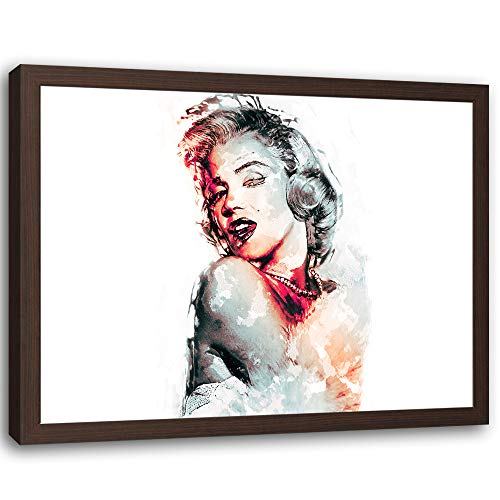 Feeby Impresión Enmarcado marrón Retrato Cuadro Actriz Rojo 60x40 cm