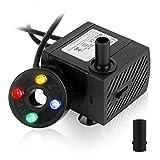 Forever Speed Mini Bomba de agua para Acuario 5 W, Sumergible para Acuario, con 4 luces LED Multicolor, Bomba Ajustable para Pozos, Jardines de Piedras, Altura de Extracción Máxima 0,85 m, 350 l/h