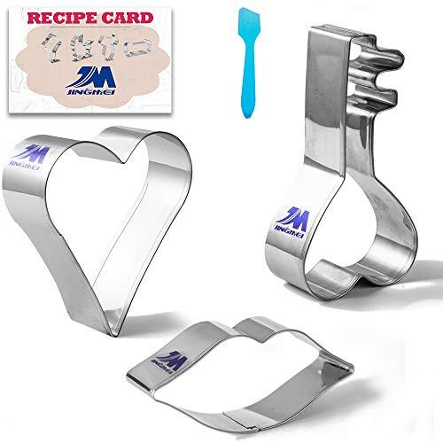 Valentijnsdag/viering van Liefde Cookie Cutter Set met Recept 3 stks Hart, Lippen, Sleutel, Koekje Gebak Cutters -Stainless Steel