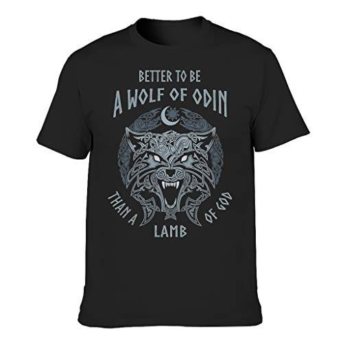 Camiseta de algodón para hombre, cuello redondo, manga corta, varias opciones de color, diseño vikingo de Odin Negro XL