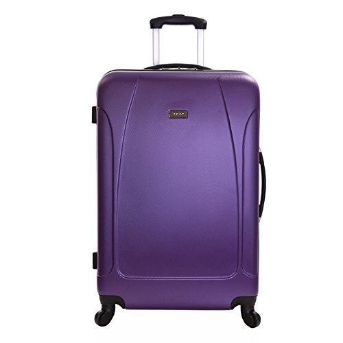 Karabar Extra Large Hard Suitcase Luggage Bag XL 76 cm 4.4 kg 100 litres 4 Spinner wheels, Evora Purple